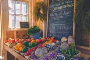organic fresh produce in local market