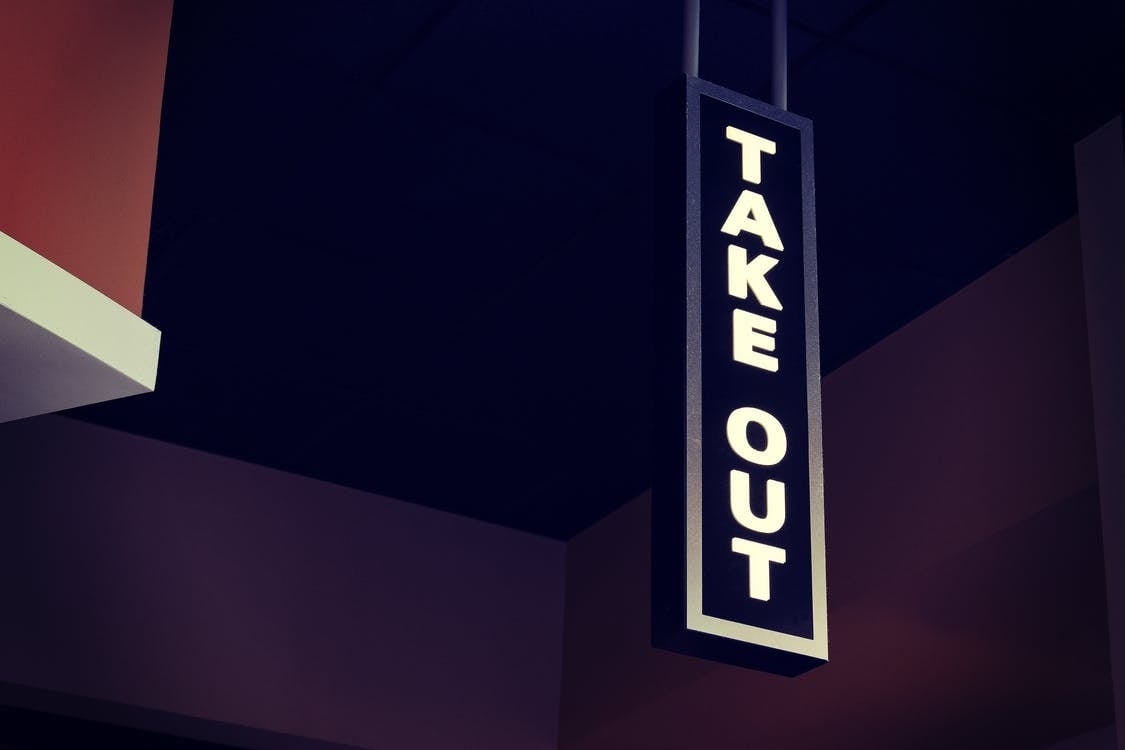 take out sign