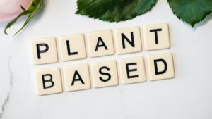 """Scrabble tiles spelling out """"Plant Based"""""""