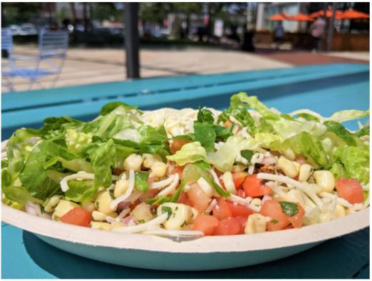 Burrito bowl: white rice, chicken, pico de gallo, corn, lettuce, cheese