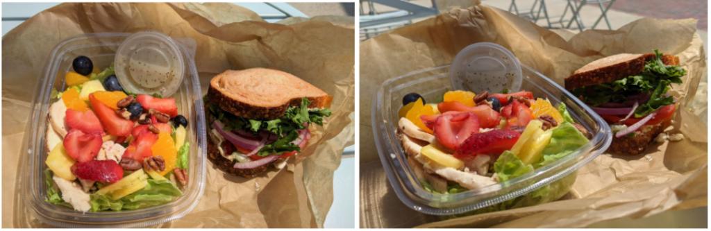 You pick 2: Strawberry Poppyseed and chicken salad, Mediterranean veggie sandwich